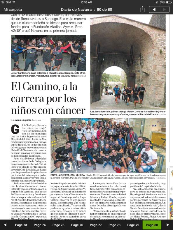 Contraportada del Diario de Navarra del dia